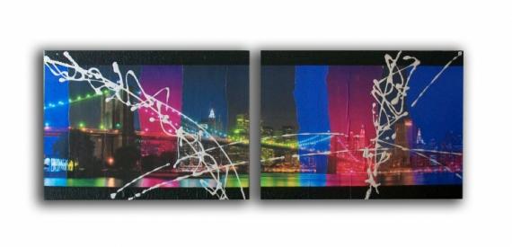TABLEAU PEINTURE toile new york manhattan design Villes Collage  - Tableau toile new york manhattan pont collage photos bleu rose v