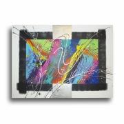 tableau abstrait tableau colore design rose : Tableau abstrait coloré arc en ciel bleu violet rouge jaune vert