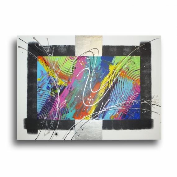 TABLEAU PEINTURE tableau coloré design rose Abstrait Acrylique  - Tableau abstrait coloré arc en ciel bleu violet rouge jaune vert