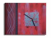tableau abstrait bordeau rouge gris argent horloge : tableau horloge bordeau