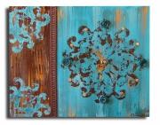 tableau abstrait baroque horloge marron horloge bleue bleu : tableau horloge bleue baroque