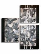 tableau fleurs gris coquelicot fleur moderne : Tableau toile coquelicot fleur gris noir blanc art contemporain