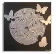"""tableau animaux papillons horloges noir gris : tableau horloge """" Renaissance """""""