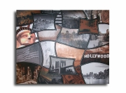 tableau villes toile new york marron gris : Tableau new york city marron beige gris noir design abstrait art