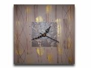 tableau abstrait horloge pendule beige marron : Tableau horloge beige doré or marron moderne contemporain abstra