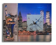 tableau villes tableau horloge new york design : tableau horloge new york moderne design collage photo