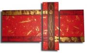 """tableau abstrait rouge dore tableau abstrait triptyque : tableau """" Magma """""""