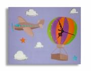 tableau personnages tableau horloge avion mauve : tableau horloge avion mauve
