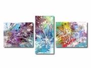 tableau abstrait triptyque colore abstrait moderne : Tableau triptyque abstrait coloré arc en ciel bleu violet rouge