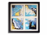 tableau marine tableau carre mer ocean : Tableau moderne carré bleu blanc noir doré toile lagon mer océan