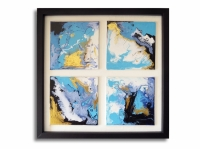 Tableau moderne carré bleu blanc noir doré toile lagon mer océan