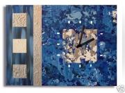 tableau abstrait bleu gris argent moderne : tableau horloge abimes