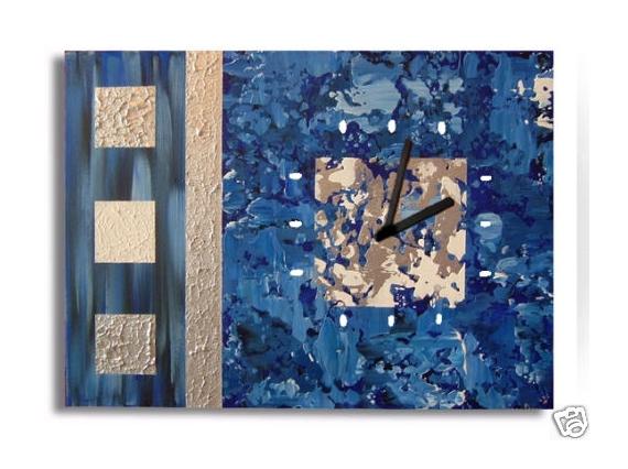 TABLEAU PEINTURE bleu gris argent moderne Abstrait Acrylique  - tableau horloge abimes