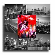 painting villes tableau new york design rouge : Tableau toile collage photos new york usa rouge noir design mode