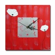 tableau fleurs horloge pendule coquelicot rouge : Tableau horloge coquelicot fleur pendule rouge blanc moderne des
