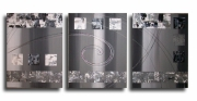 tableau abstrait tableau gris noir design : Tableau toile gris blanc noir art contemporain abstrait moderne