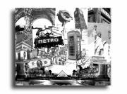 tableau villes paris londres new york design : Tableau paris new york londres noir et blanc collage
