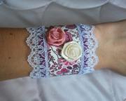 bijoux fleurs bracelet manchon liberty fleur : Bracelet manchon liberty rose fleur classe moderne textile