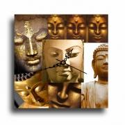 tableau personnages pendule horloge bouddha zen : Tableau toile horloge bouddha zen marron moderne pendule murale