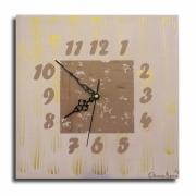 tableau abstrait tableau horloge pendule marron : horloge pendule carrée marron taupe doré chiffre tableau moderne