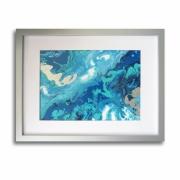 tableau abstrait tableau bleu abstrait mer : Tableau océan moderne bleu blanc argent toile cadre abstrait chi