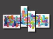 tableau abstrait tableau colore abstrait design : Tableau XXL coloré arc en ciel bleu violet rouge jaune vert de c