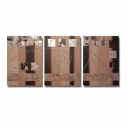 tableau abstrait tableau triptyque moderne marron : Tableau triptyque toile marron beige taupe art contemporain abst