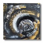 tableau abstrait tableau noir et blanc collage carre : Tableau carré toile design gris noir blanc doré art contemporain