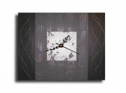 tableau abstrait horloge pendule gris tableau : Tableau toile horloge pendule murale gris noir anthracite