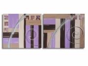 tableau abstrait diptyque parme mauve chic : Tableau moderne chic toile diptyque marron beige mauve parme abs
