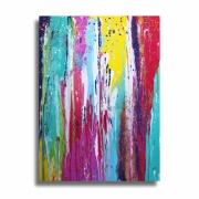 tableau abstrait tableau colore design splash : Tableau unique moderne vertical peinture coloré bleu rose jaune
