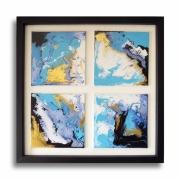 tableau abstrait tableau mer oceon lagon : Tableau moderne carré bleu blanc noir doré toile lagon mer océan