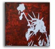 """painting personnages new york toile rouge statue de la liberte tableau moderne : Tableau """" Liberty """""""