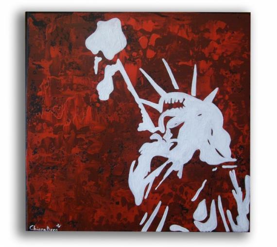 """TABLEAU PEINTURE new york toile rouge statue de la liberté tableau moderne Personnages Acrylique  - Tableau """" Liberty """""""
