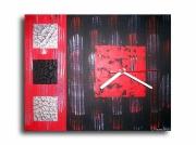 tableau abstrait horloge pendule noir rouge : Tableau horloge design rouge noir gris pendule