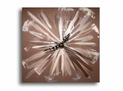 tableau abstrait tableau horloge pendule marron : Tableau horloge marron taupe beige pendule moderne abstrait