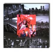 painting villes tablezu horloge new york collage : tableau horloge new york statue de la liberté rouge noir collage