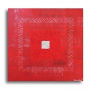 """tableau abstrait tableau carre moderne rouge : Tableau """" Etna II """", toile peinture rouge, bordeaux et"""