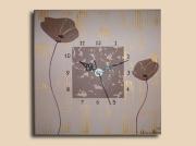 tableau fleurs horloge pendule coquelicot marron : Tableau horloge coquelicot fleur marron moderne design chic