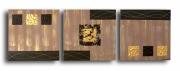 tableau abstrait horloge triptyque marron or : Tableau triptyque horloge marron doré moderne design pendule mur