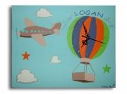 tableau personnages tableau horloge avion bleu : tableau horloge bleu avion personnalisable