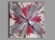 tableau abstrait pendule horloge design rouge : Tableau horloge carré rouge gris noir contemporain moderne