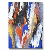 Tableau moderne vertical unique peinture bleu blanc noir doré ar