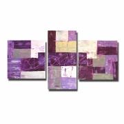 tableau abstrait peinture triptyque violet purple : Tableau triptyque violet prune blanc violet chic moderne