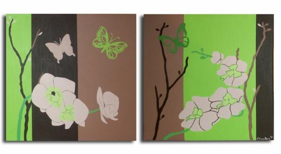 TABLEAU PEINTURE tableau orchidée vert marron Fleurs Acrylique  - Tableau diptyque fleur orchidée papillon marron vert anis modern
