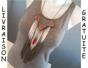 bijoux autres collier frange navajo country : collier frange triangle navajo indien plume rose gris