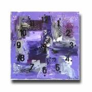 tableau abstrait horloge pendule carre violet : Tableau horloge carré industriel violet mauve gris noir pendule