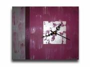 tableau abstrait horloge pendule prune violet : Tableau toile horloge pendule murale prune violet gris abstrait