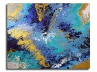 Tableau moderne abstrait bleu toile fluide vert bleu mint doré o