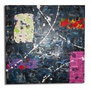 tableau abstrait toile moderne bleu vert : tableau toile bleu noir rose jaune vert moderne